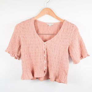 AE Blush Smocked Short Sleeve Button Up Crop Top